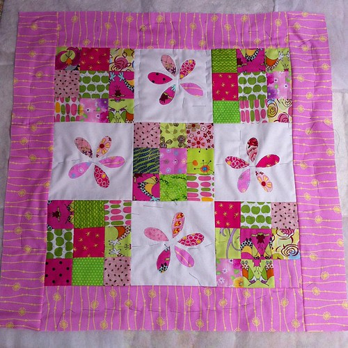 Baby quilt basted by Scrappy quilts