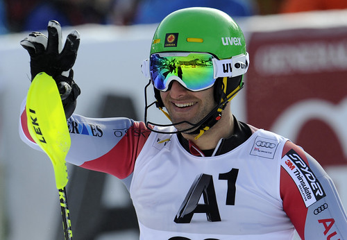 Mike Janyk is all smiles in Kitzbühel after placing 14th in men's slalom.