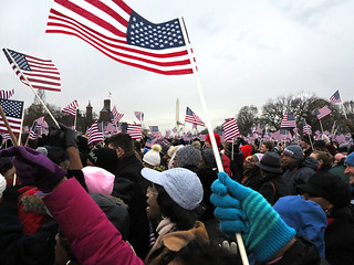Inauguration with Flags and Washington Monument