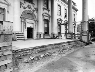 Southwest View of the North Portico of the White House during the Renovation, 06/05/1951