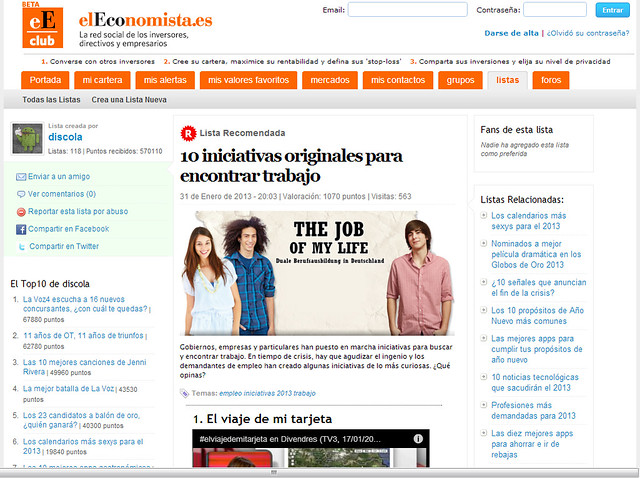 Artículo en ranking - Listas.ElEconomista.es (31.01.2013) - castellano