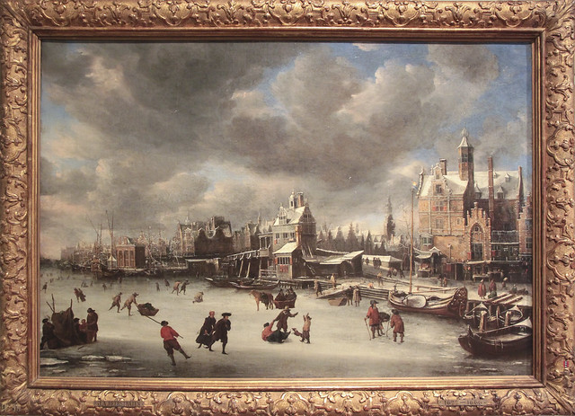 The Paalhuis and the Nieuwe Brug in winter, Jan Abrahamsz Beerstraten 1663
