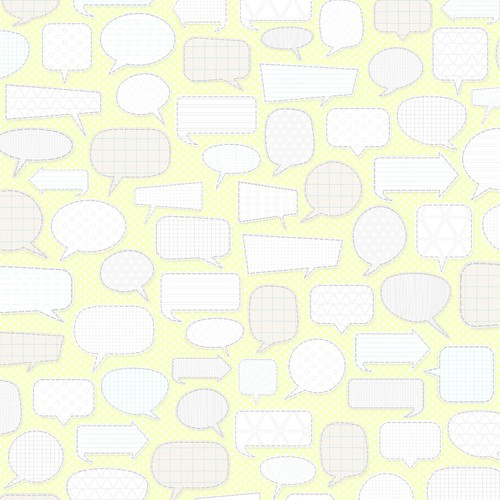 7 Patterned Conversation Bubbles (light margarita)  - free printable digital patterned paper