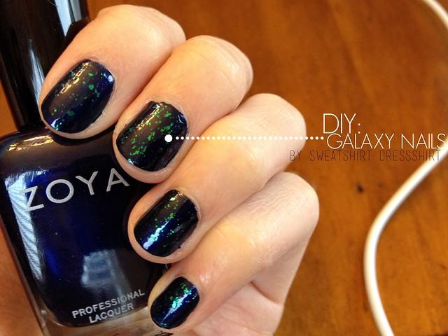 galaxy nail tutorail, zoya nail polish ibiza, opal, diy nail art