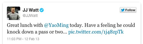 February 12th, 2013 - Houston Texans defensive lineman J.J. Watt tweets about his lunch with Yao Ming