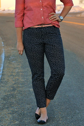 polka dot pants, chambray