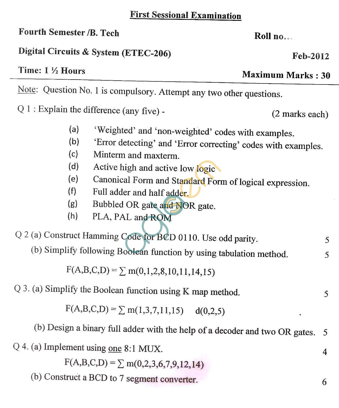 GGSIPU Question Papers Fourth Semester – First Term 2012 – ETEC-206