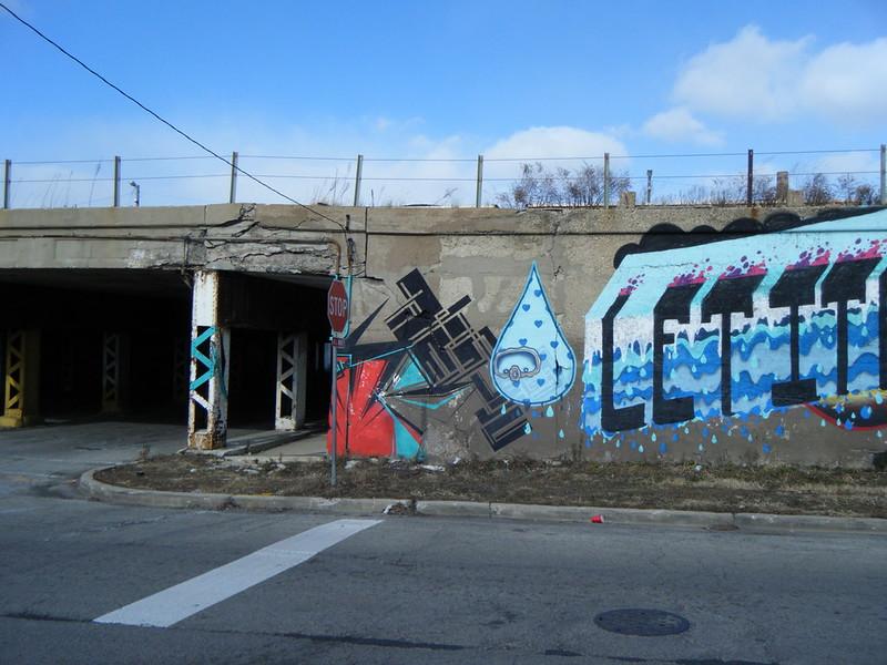"Detail of ""Let it rain..."" mural"