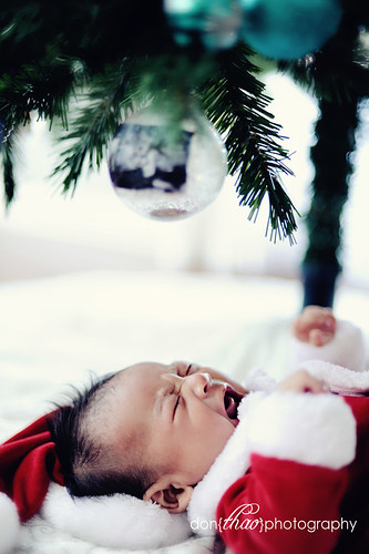 Holiday photo shoot and session with almost three month baby boy by the Christmas tree