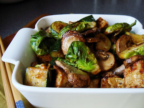 Tempeh Brussel Sprouts Stirfry