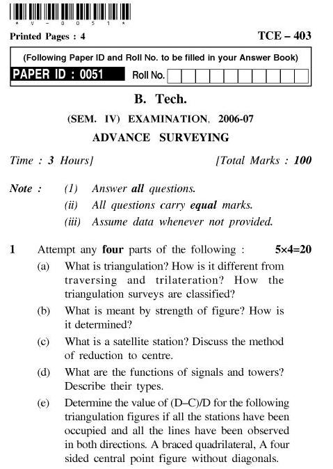 UPTU B.Tech Question Papers - TCE-403-Advance Surveying
