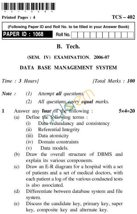 UPTU B.Tech Question Papers - TCS-402-Database Management System