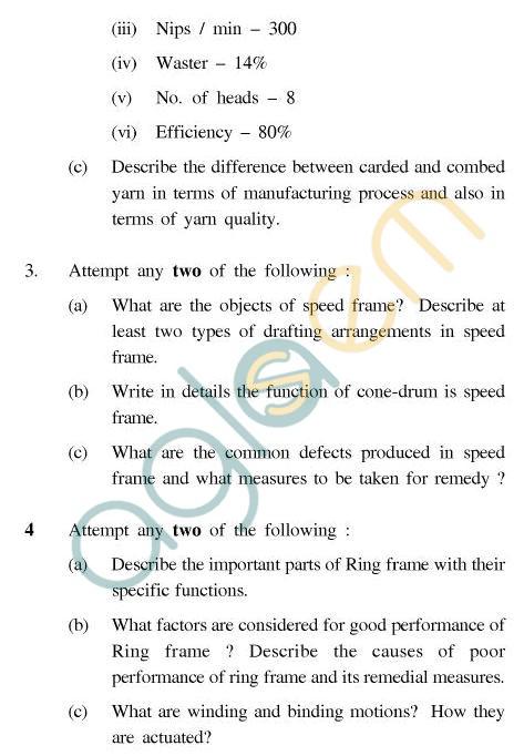UPTU B.Tech Question Papers - CT-401(N) - Spinning Technology-II