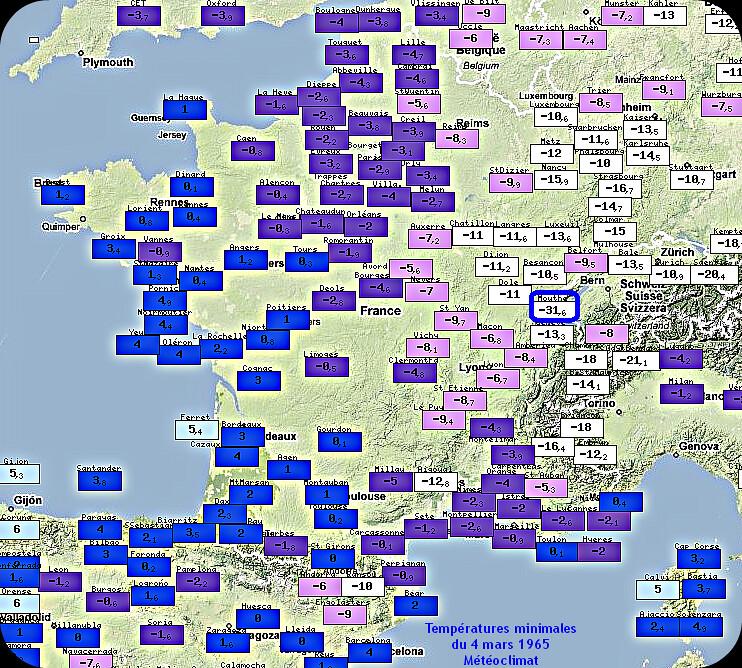 températures minimales glaciales et record mensuel absolu de froid à Mouthe le 4 mars 1965 météopassion