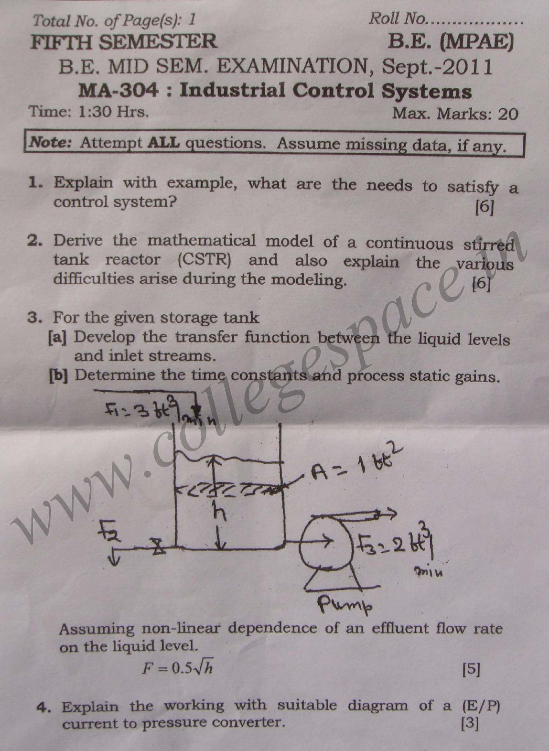 NSIT Question Papers 2011 – 5 Semester - Mid Sem - MA-304