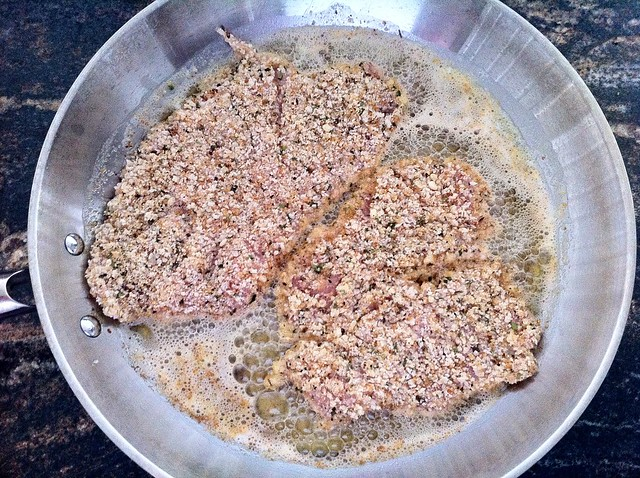 Breaded Chicken Added to Saute Pan