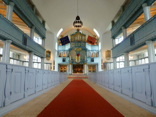 The interior of Røros church, Norway