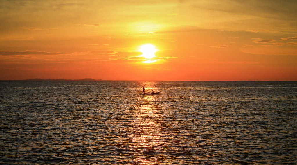 Bintan sunset fishermen - a postcard
