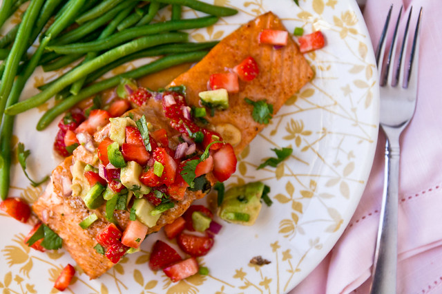 Grilled Salmon with Strawberry-Avocado Salsa
