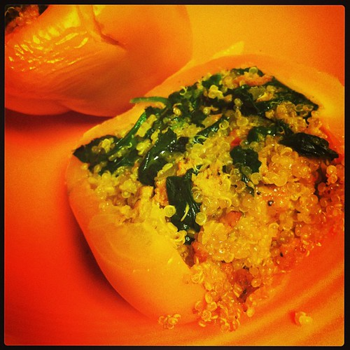 Quinoa Stuffed Peppers with Spicy Chicken Sausage & Spinach #wfd #badfoodphotography #latergram