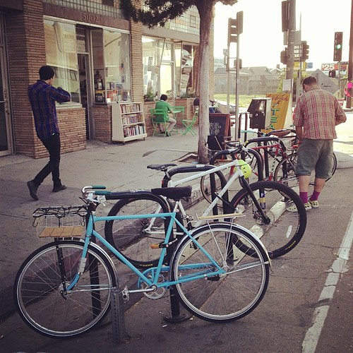 """""""Unused"""" bike racks on Avenue 50 and York according to @highlandpatch commenters."""