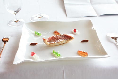 "Course 5: Integral Red Mullet with Sauces ""Fusili"""