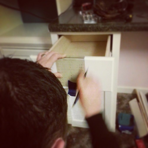 Bought him this thingamabobber today. Made him want to out cabinet pulls kn for me. I know how to work him. :) lol