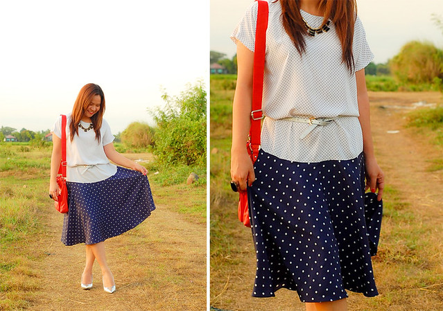 thrift two toned polka dot summer dress