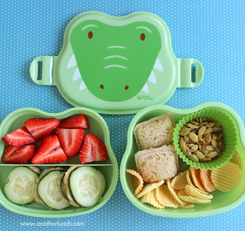 Alligator face bento box lunch for preschooler