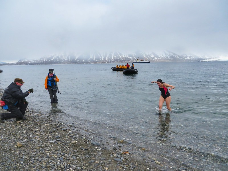 After the polar plunge in Svalbard, Norway