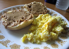 Scrambled Eggs And English Muffin.