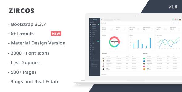 Zircos v1.6 – Responsive Admin Template – Material Design