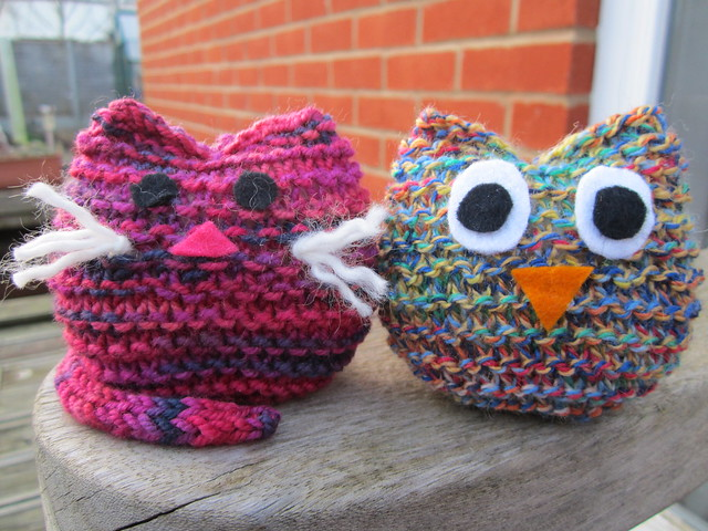 knitting club cat and owl