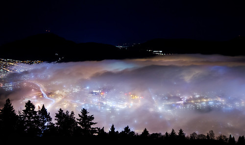 city sky mist weather norway fog lights view candy mount cotton covered bergen candyfloss mountian fløyen løvstaken