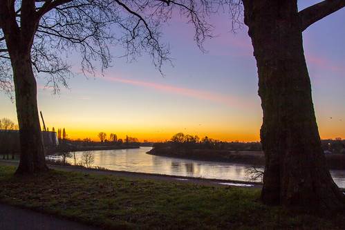 morning winter sunrise germany deutschland bremen weser viertel