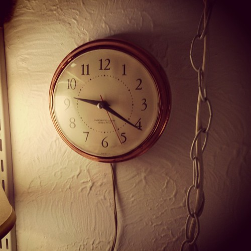 This clock is my new favorite. Scored it at an antique store in Montrose for $5. I love the sound electric clocks make.