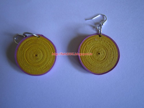 Handmade Jewelry - Paper Disk Earrings (Yellow & Pink) (1) by fah2305