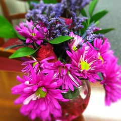 Flowers from an office party cheer things up a bit