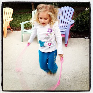 She is learning how to jumprope! Her PE Coach is teaching her & she is practicing at home.