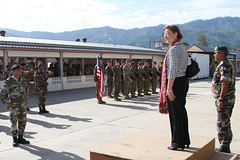 U.S. Ambassador Judith Fergin addresses members of the U.S. and Timorese Navies during the opening ceremony, Jan. 25, of the first Cooperation Afloat Readiness and Training (CARAT) Timor-Leste exercise. (U.S. Navy photo by Prudencio Cabral)