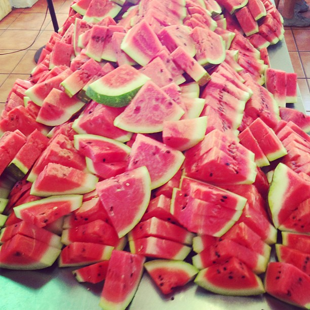 Thank you Super Spar for donating 20 watermelons for today's event. That's 800 pieces you see there! #tthofficial