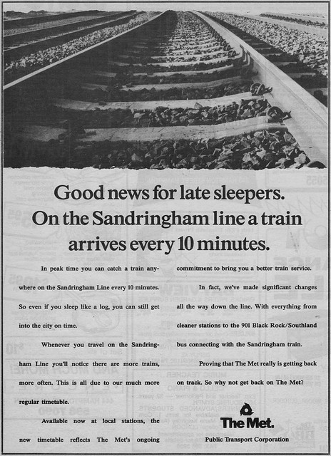 The Met: advertisement for improved Sandringham line services, 11th Feb 1992