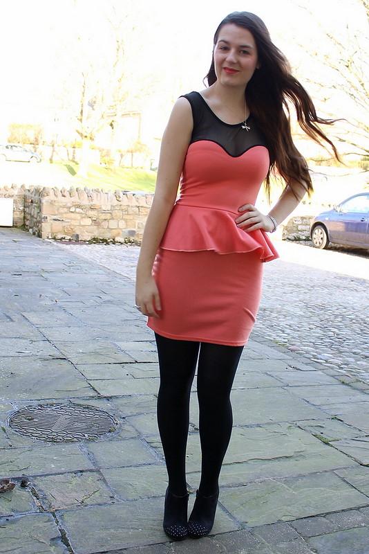 Chiara Fashion pink peplum dress