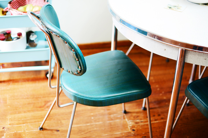 teal 1950s diner table chairs c
