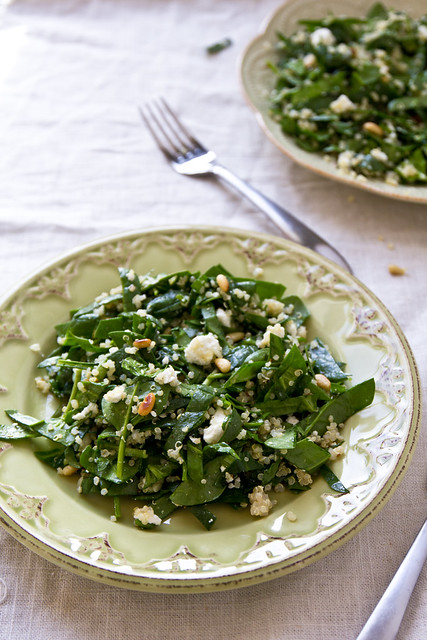 Spinach and Quinoa Salad with Goat Cheese and Pine Nuts