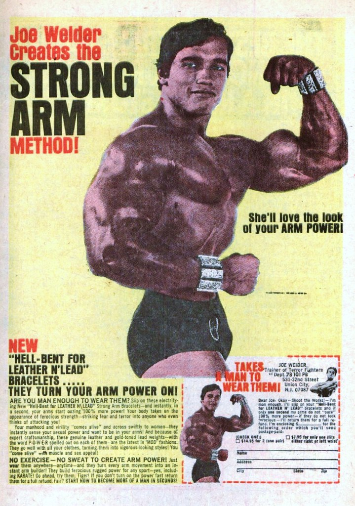 Joe Welder Strong Arm Bracelets 1971 arnold schwarzenegger bodybuilding ad