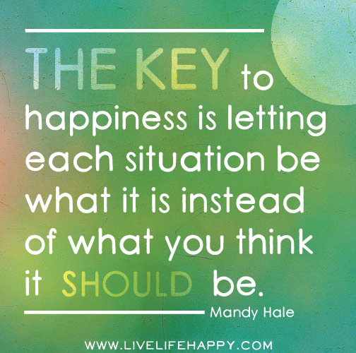 The key to happiness is letting each situation be what it is instead of what you think it SHOULD be. -Mandy Hale