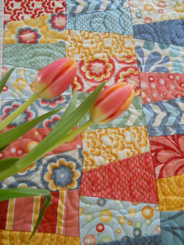 Salt Air table runner & tulips