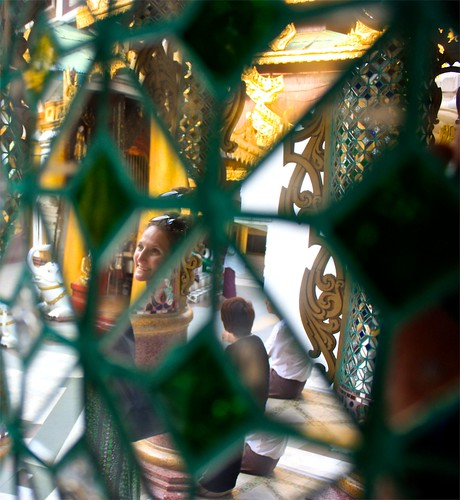 hand made glass mosaic columns creates ever changing art