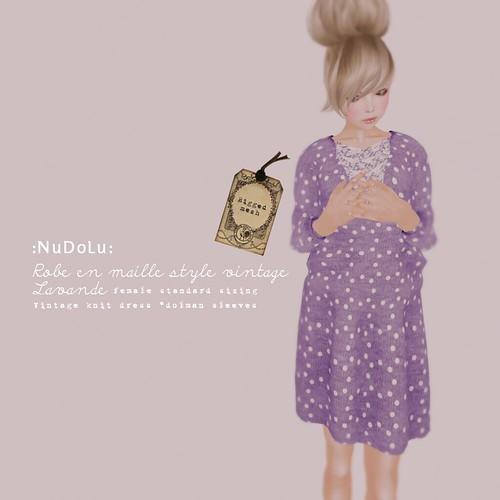 NuDoLu Robe en maille style vintage Lavande AD